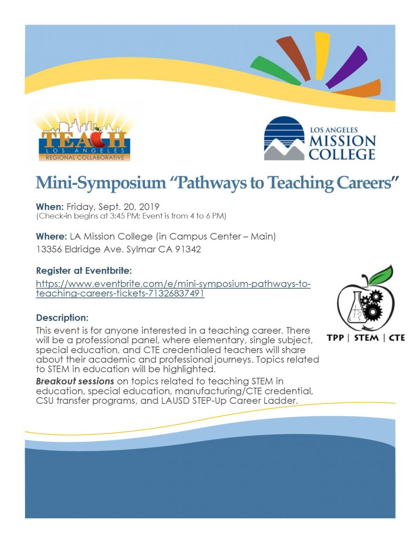 "FREE EVENT- Mini-Symposium ""Pathways To Teaching Careers"" On Sept. 20th"