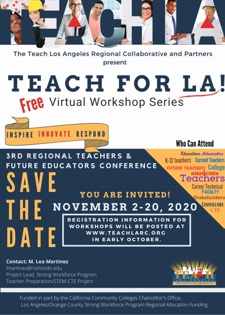 SAVE THE DATE for our upcoming Teach for LA! Virtual Workshop Series.