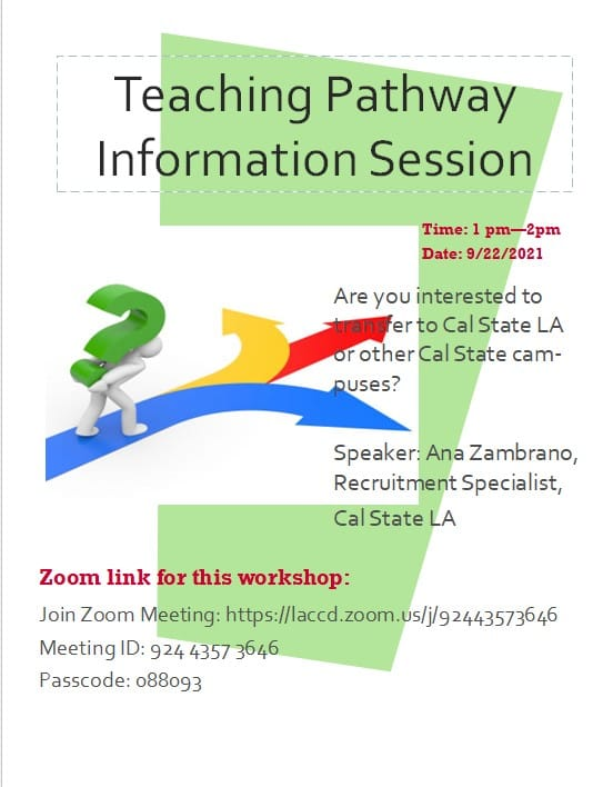 Teaching Pathways CSULA Information Session For ELAC Students